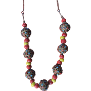 Moroccan Tribal Necklace with 7 Stone Encrusted Orbs