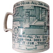 Ale Mug, A Yorkshire Mans Advice To His Son, Teal Blue Transfer.