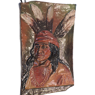 "Vintage, Hand Painted, Papier Mache Wall Hanging of Indian Brave, 12 1/2"" X 20"""