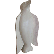 De-Mar Alabaster Sculpture of a Standing White Bird, 9 3/4""