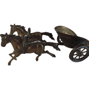 Brass Model Greco/Roman Horse Drawn Chariot