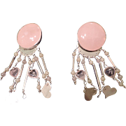 Herman Siebersbol Sterling, Clip, Rose Quartz Chandelier Earrings