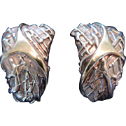 Large, Designer, Brutalist, Sterling Silver Clip Earrings