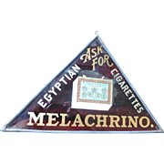 "Melachrino Egyptian Cigarettes Triangular, Metallic, Glass Sign, 8"" X 12"""