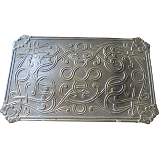 Victorian Brass Rectangular Trinket Box with Celtic Knots Motif