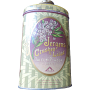 1920's Jergens Crushed Lilac Talcum Powder Tin, Full Contents