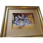 "Framed Limoges Hand Painted, Signed AK, Porcelain Plaque, Violets, 6"" X 9 1/2"", 14"" X 16"""
