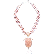 Pink Pearl Double Strand Necklace, Sterling Silver and Agate Anthropomorphic Pendant, by PRECIOUSGEM