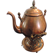 19th Century Solid Copper Tea Kettle, Burner, and Stand, Old Tin Repair