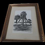 "Stefan Martin Wood Engraving Print, Giraffe, 9"" X 13"", Framed, 16 1/2"" X 21"