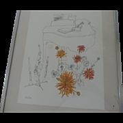 "Millicent Tompkins Print, Spider Mums, 12"" X 15 1/2"", Metal Frame, 16"" X 20"""