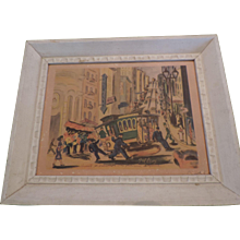 """Ted Levy Lithograph, Powell St Turntable, San Francisco, Hand Signed, 9"""" X 12"""", Framed"""