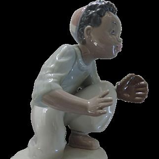 "Lladro Black  Legacy Figurine, ""I've Got It"", Baseball, #5827, Original Box"