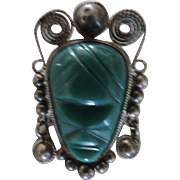 Mexican Sterling Silver and Jade Aztec Mask Brooch