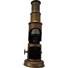 Antique Brass Field Microscope, Made In France