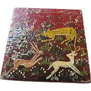 "Primitive Hand Painted Lacquered, Wooden Box, Big Cat Hunting Deer, 4 1/4"" X 4 1/4"" X 1 3/4"""