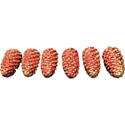 """Large Red Mercury Glass Pine Cone Ornaments, 4 1/4"""" Long, West Germany, Set of 6"""
