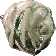 Mercury Glass Tree Ornaments, Green Rose, Clip On, Germany, Set of 3