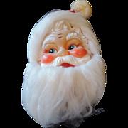 Mid Century Santa Claus Wall Hanger, Vinyl Face, Cloth Hat, Angel Hair Beard, Japan