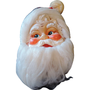 Mid Century Santa Claus Wall Hanger, Vinyl Face, Cloth Hat, Angel Hair Beard, Japan