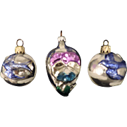3 Mercury Glass Ornaments, Pansy, and 2 Bluebirds, West Germany