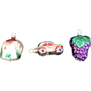 Three Mercury Glass Figural Ornaments, Elephant, Automobile, Bunch of Grapes