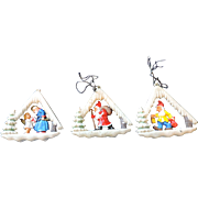3 Vignette Christmas Tree Ornaments, West Germany