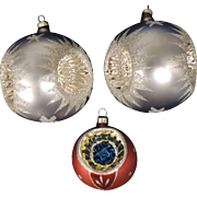 Group of 3 Mercury Glass Christmas Tree Ornaments, 2 Large Triple Indent, 1 Small Multicolored Indent