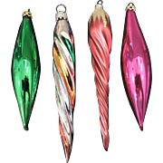 Group of 4 Glass Christmas Tree Ornaments, 2 icicle, West Germany, and 2 Tapered, Colombia