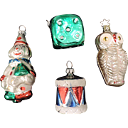 Group of 4 Mercury Glass Figural Ornaments, Owl, Clown, Drum, and Dice