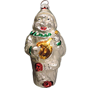 Set of 2 Mercury Glass Christmas Tree Ornaments, Clown Playing Banjo, West Germany