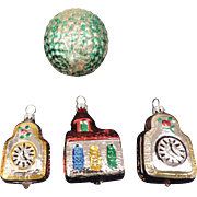 Group of 4 Mercury Glass Christmas Tree Ornaments, 2 Clocks, a Church, a Green Basketweave Ball, West Germany