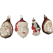 Group of 4 Mercury Glass Christmas Tree Ornaments, Santa Claus, West Germany