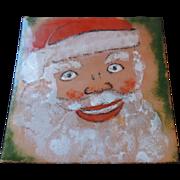 "Copper Enameled Santa Claus Head, 6"" X 6"""