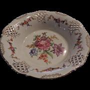 Large Schumann, Dresden, Flowered, Pierced,  Porcelain Compote