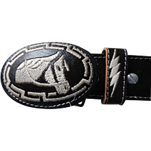 """Black and White Western Themed Mexican Concho Style Belt and Buckle, 1 5/8"""" X 38"""""""
