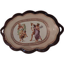 """Brown Porcelain two Handled Tray, Pompeii Pattern, Germany, 8 1/2"""" X 12 1/2"""""""