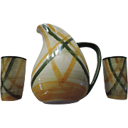 Vernon Kilns Gingham Pitcher and Two Tumblers