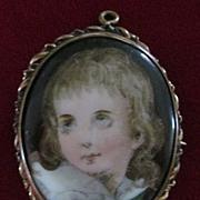 Hand Painted Little Blond Boy Portrait on Porcelain Pin/Pendant