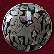 Taxco Alpaca Silver and Mother of Pearl Mosaic Round Pin