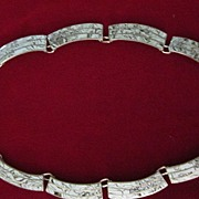 Taxco Signed L S Sterling Silver, Marbleized Necklace