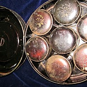 Japanned Tin Spice Set with Six Individual Spice Tins