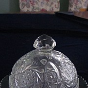 Pattern Glass Domed Butter Dish