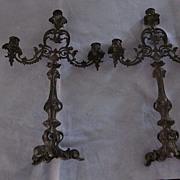 Pair Rococo Bronze 3 Light Candelabra
