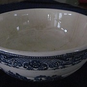 Heavy Blue Willow Ribbed Salad Bowl