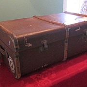 TGL Irish Suitcase/Steamer Trunk w/ Bentwood Trim