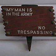 WWII Leather No Trespassing Placard