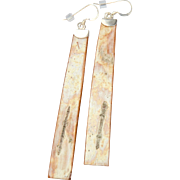 Slender Long Birch Bark Earrings