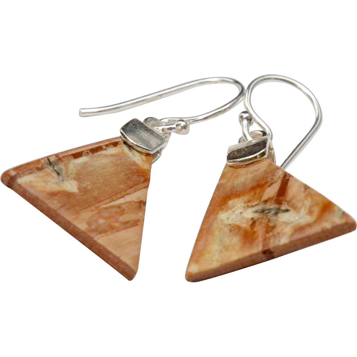 Petite Triangle Birch Bark and Sterling Earrings