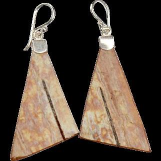 Large Triangle Birch Earrings on Sterling